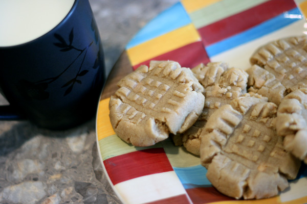 peanut butter cookies on a colorful plate