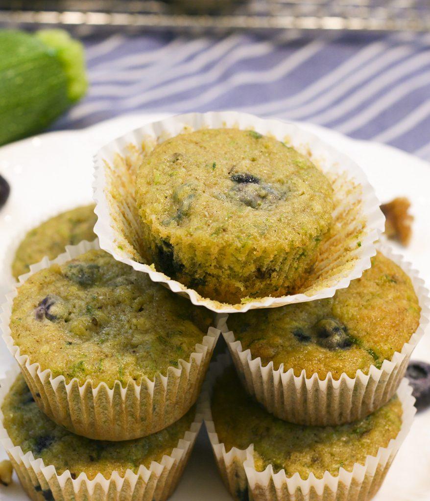 stacked blueberry zucchini muffins