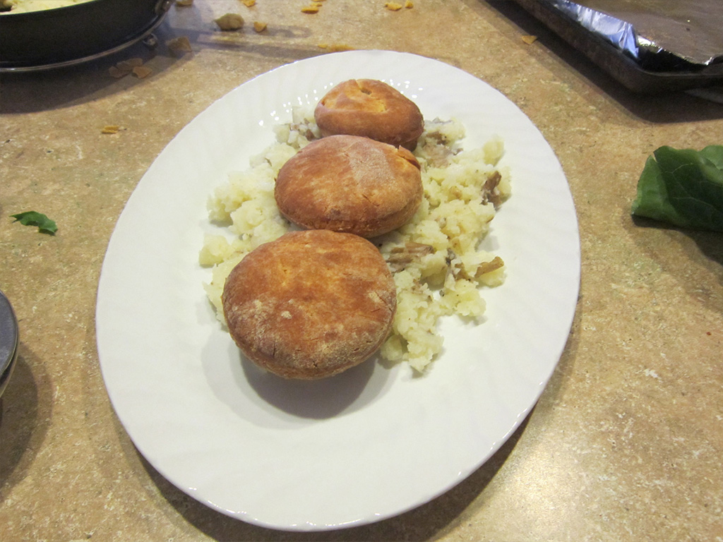 biscuits on mashed potatoes