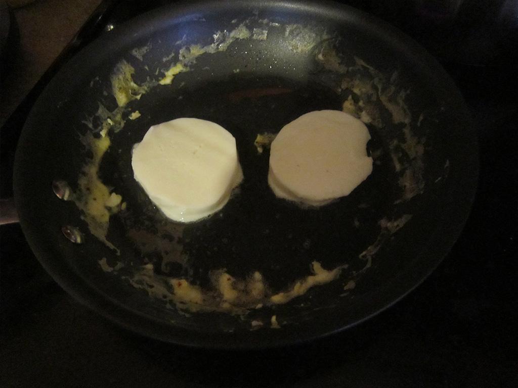 Slightly melt the cheese