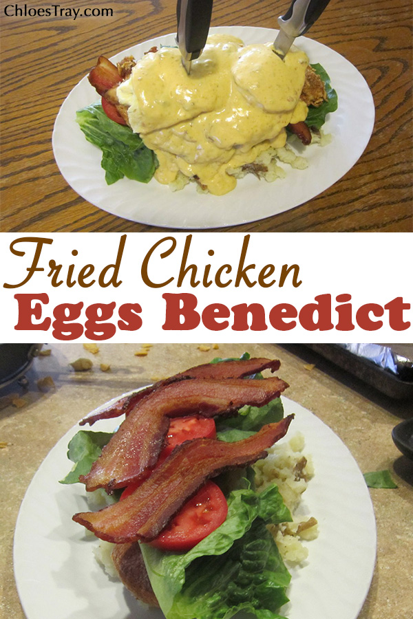 image to share of fried chicken eggs benedict