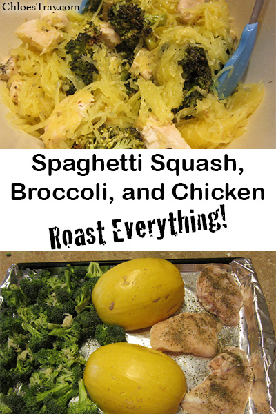 shareable image of spaghetti squash broccoli and chicken