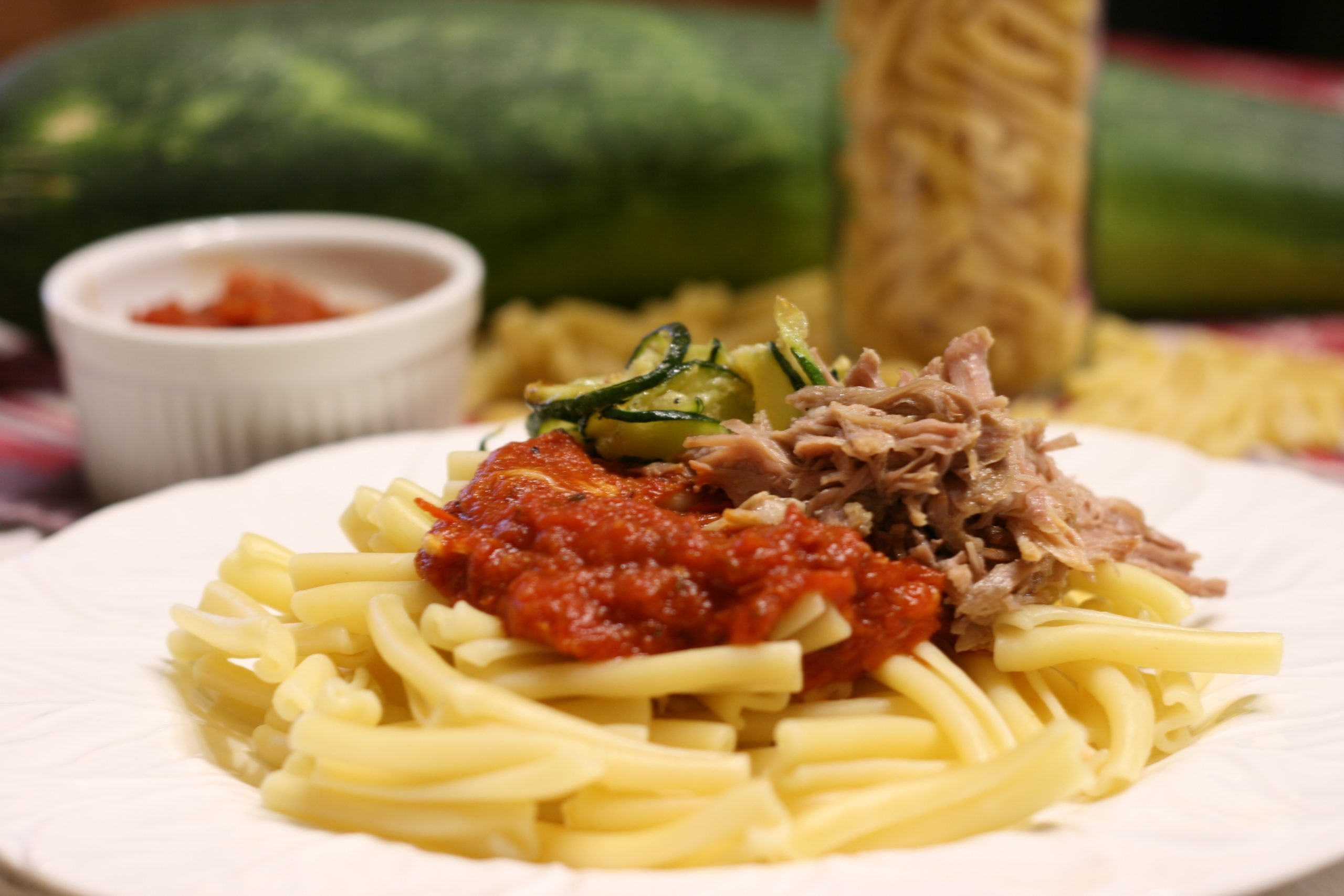 Zucchini pork and roasted garlic pasta sauce
