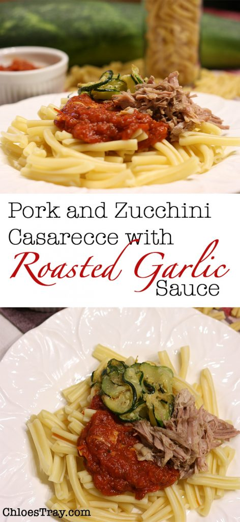 Zucchini pork and roasted garlic pasta sauce
