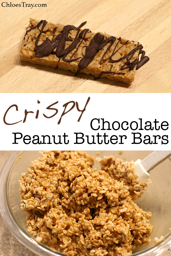 two pictures of crispy chocolate peanut butter bars