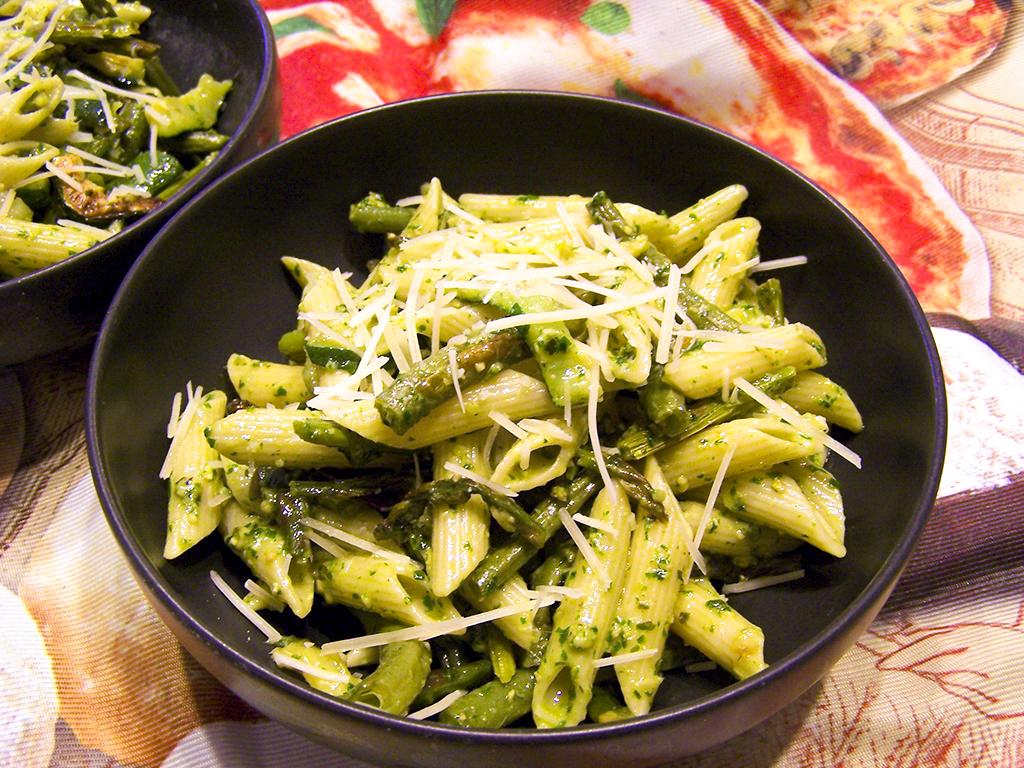 Three Veggie Penne With Basil Pesto