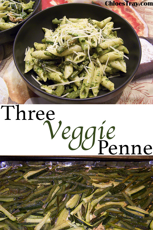 Vegetable pesto penne pasta