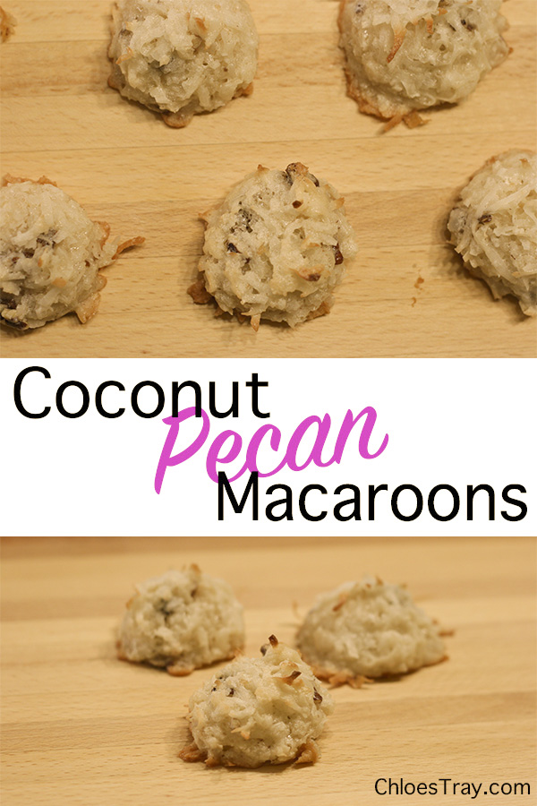 Two pictures of coconut pecan macaroons