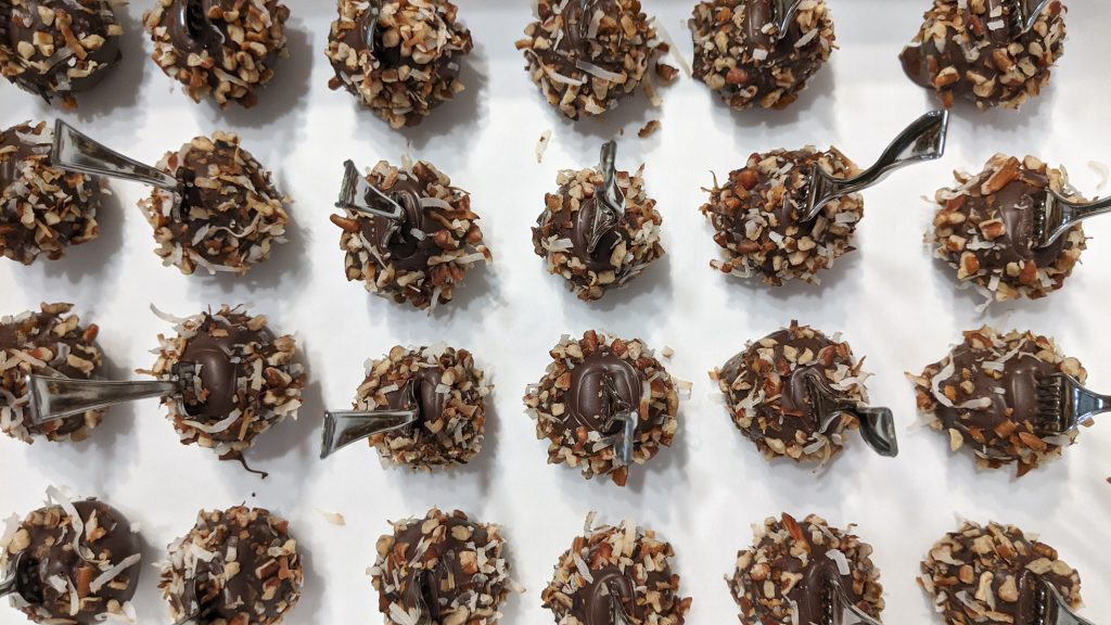 Black forest German chocolate cake pops from above