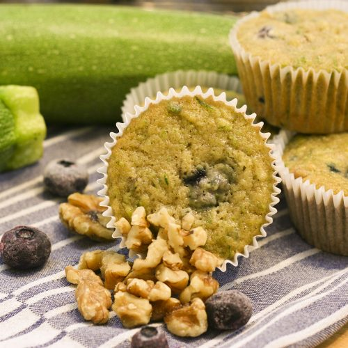 Blueberry zucchini muffin with walnuts and blueberries