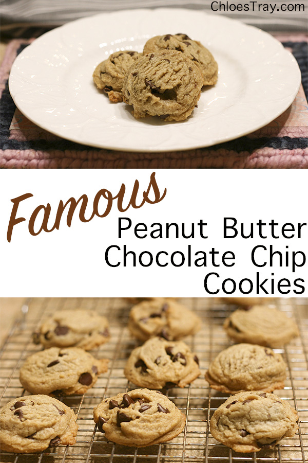 Two pictures of the peanut butter chocolate chip cookies