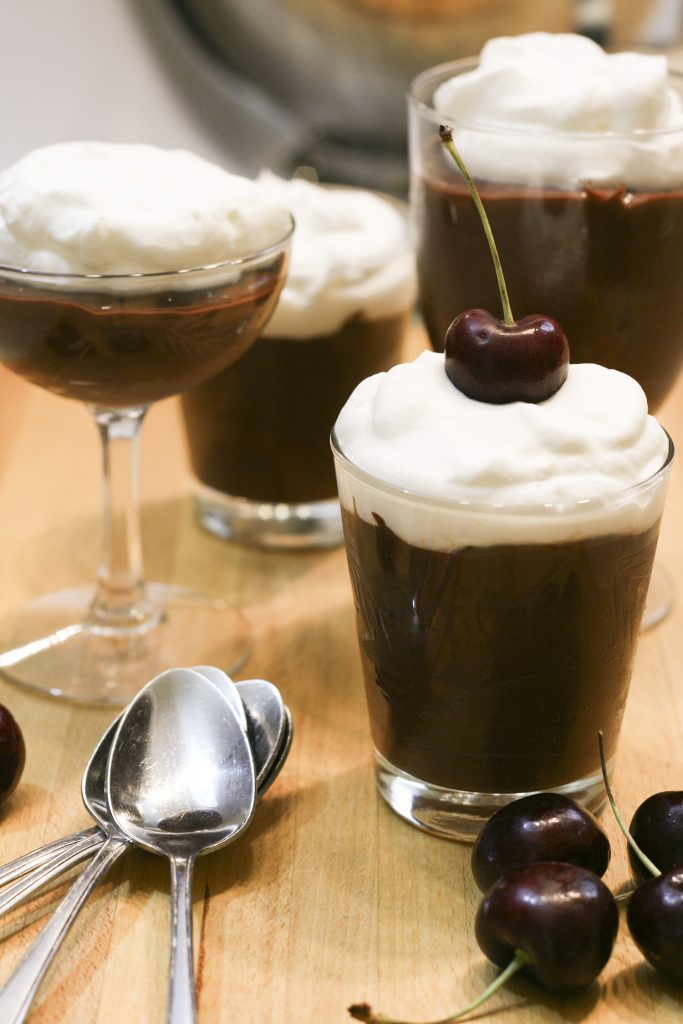 chocolate pudding in fancy glasses