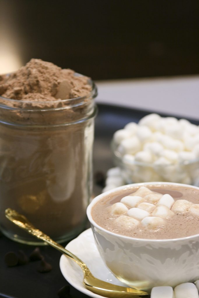 hot chocolate mix prepared with marshmallows on top