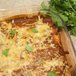 beef enchiladas made using Macayo's Red Enchilada Sauce copycat recipe
