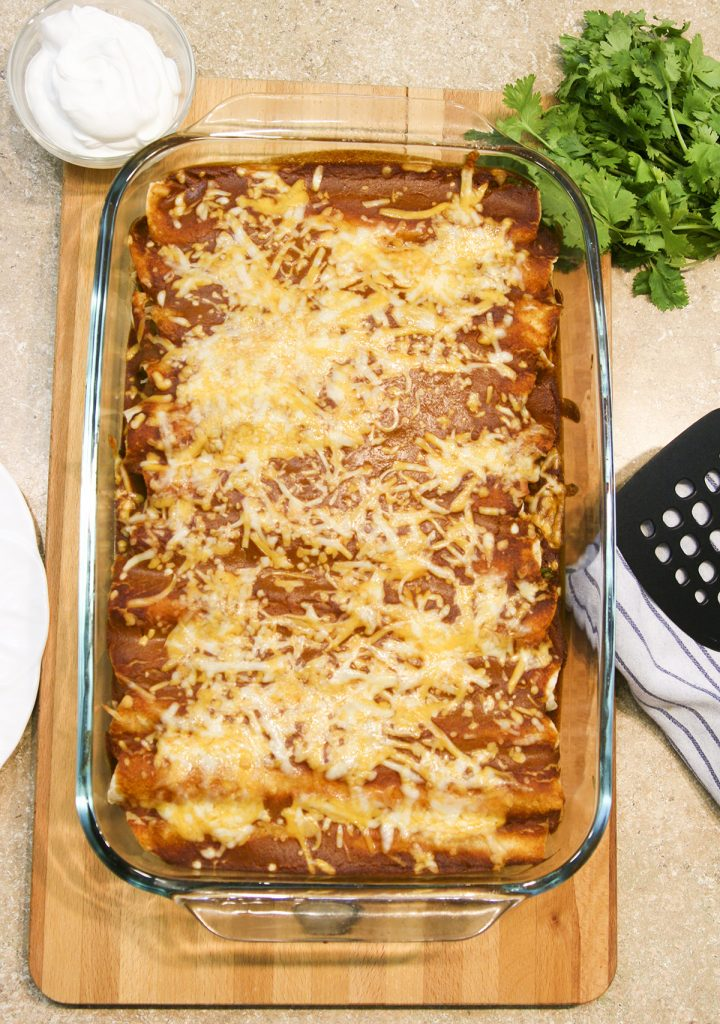 enchiladas made using Macayo's Red Enchilada Sauce copycat recipe