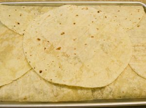 sheet pan quesadilla before baking